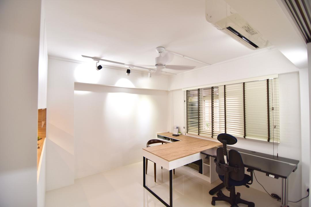 Bishan Street 24 (Block 266), Van Hus Interior Design, Modern, Study, HDB, Wooden Laminated Table Top, High Back Study Chair, Track Lights, Ceiling Fan, Modern Contemporary Study Room