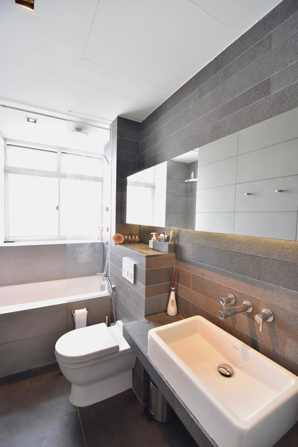 Scandinavian, Condo, Bathroom, Casablanca, Interior Designer, Van Hus Interior Design, Ceramic Floor, Protruding Sink, Bath Tub, Modern Contemporary Bathroom