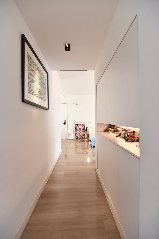 Scandinavian, Condo, Living Room, Casablanca, Interior Designer, Van Hus Interior Design, Hallway, Wooden Floor, Built In Shelves, Hidden Interior Lighting