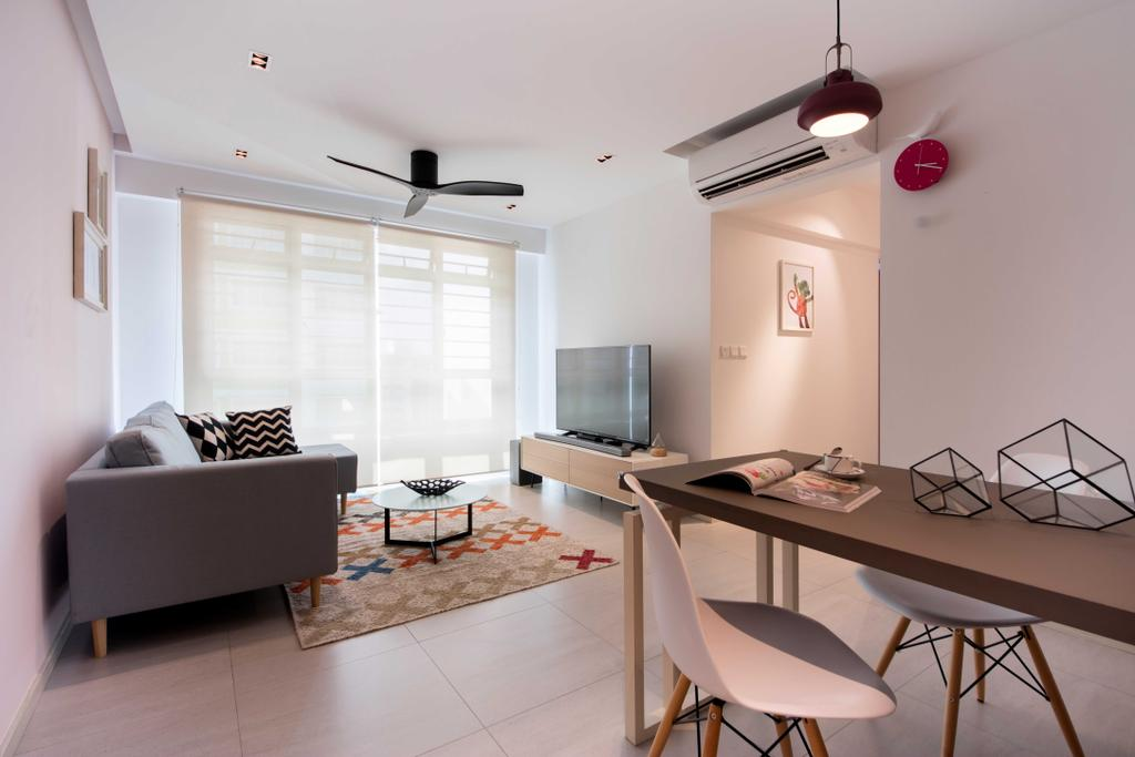 Scandinavian, HDB, Living Room, Chai Chee Road (Block 807B), Interior Designer, KDOT, Ceramic Tiles, Ceiling Fan, Rug, Wall Mounted Television, Wooden Floating Console, Sling Curtain, Modern Contemporary Living Room, Chair, Furniture, Dining Room, Indoors, Interior Design, Room