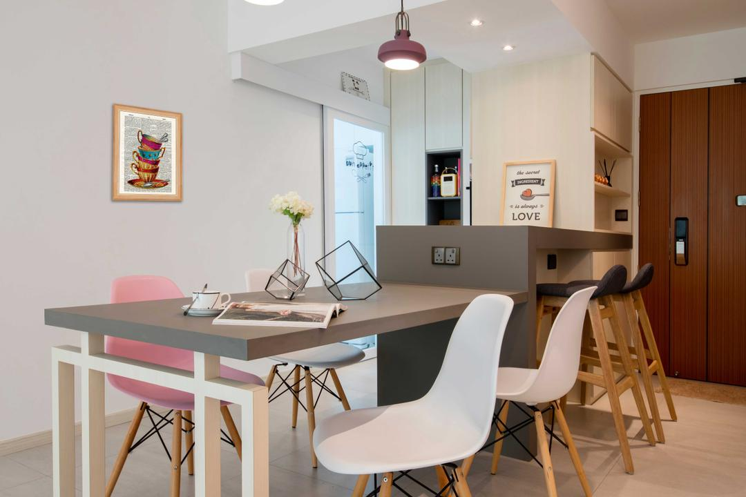 Chai Chee Road (Block 807B), KDOT, Scandinavian, Dining Room, HDB, Ceramic Tiles, Recessed Lights, White Chair, Grey Laminated Table Top, Modern Contemporary Dining Room, Chair, Furniture, Art, Blossom, Flora, Flower, Flower Arrangement, Ikebana, Jar, Ornament, Plant, Pottery, Vase, Bar Stool, Dining Table, Table, Indoors, Interior Design, Room