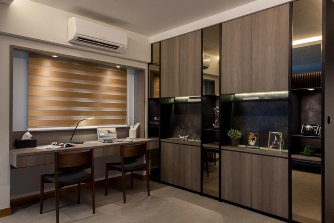 Skyville @ Dawson, KDOT, Contemporary, Study, HDB, Coffered Ceiling, Hidden Interior Lighting, Roll Down Curtain, Wall Mounted Desk, Wooden Study Chair, Built In Shelve, Marble Floor, Mordern Contemporary Study Room, Furniture