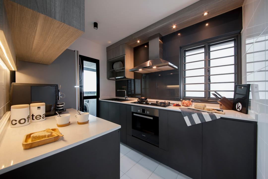 Skyville @ Dawson, KDOT, Contemporary, Kitchen, HDB, Modern Contemporary Kitchen, White Ceramic Tiles, White Laminated Top, Wooden Kitchen Cabinet, Wooden Kitchen Cupboard, Recessed Lights, Appliance, Electrical Device, Oven, Indoors, Interior Design, Room, Coffee Cup, Cup