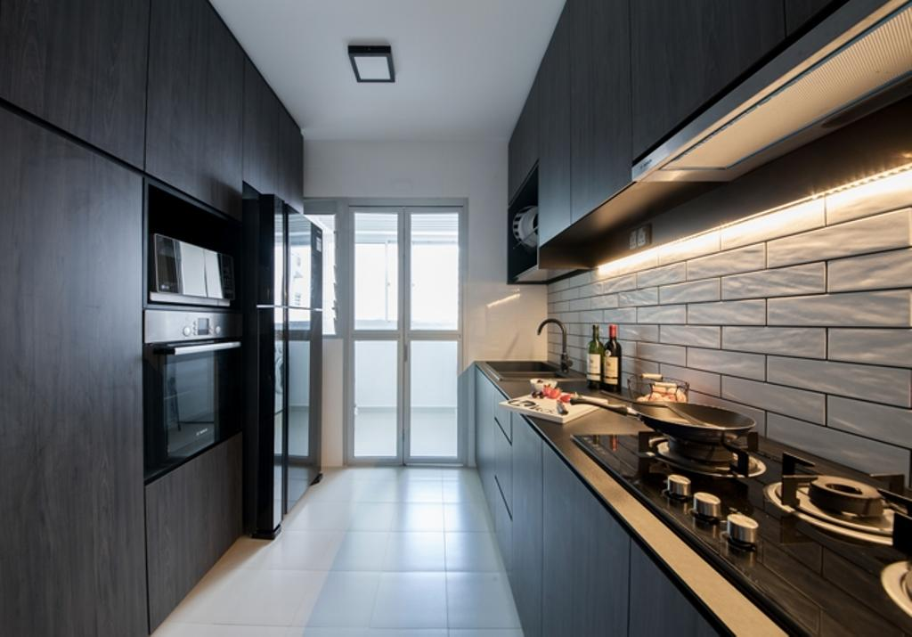 Contemporary, HDB, Kitchen, Rivervale Crescent (Block 162C), Interior Designer, KDOT, Modern Contemporary Kitchen, White Ceramic Tiles, Brick Wall, Wooden Kitchen Cabinet, Wooden Kitchen Cupboard, Ceiling Light, Hidden Interior Lighting, Appliance, Electrical Device, Oven, Corridor