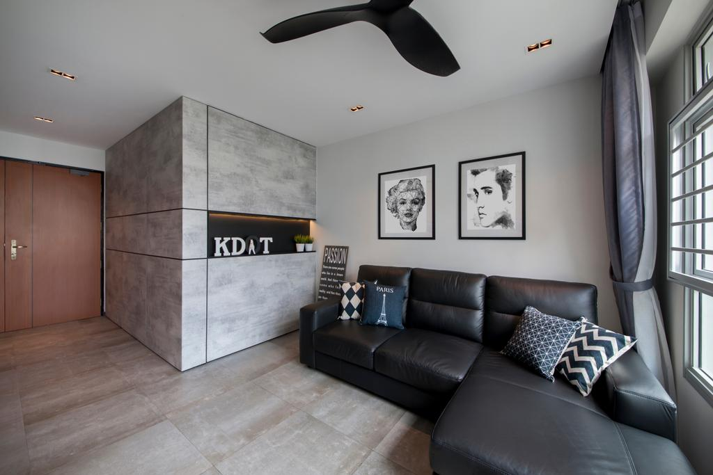 Contemporary, HDB, Living Room, Rivervale Crescent (Block 162C), Interior Designer, KDOT, Wooden Floor, Ceiling Fan, Recessed Lights, Sectional Sofa, Artsy, Sling Curtain, Modern Contemporary Living Room, Wooden Door, Couch, Furniture, Chair
