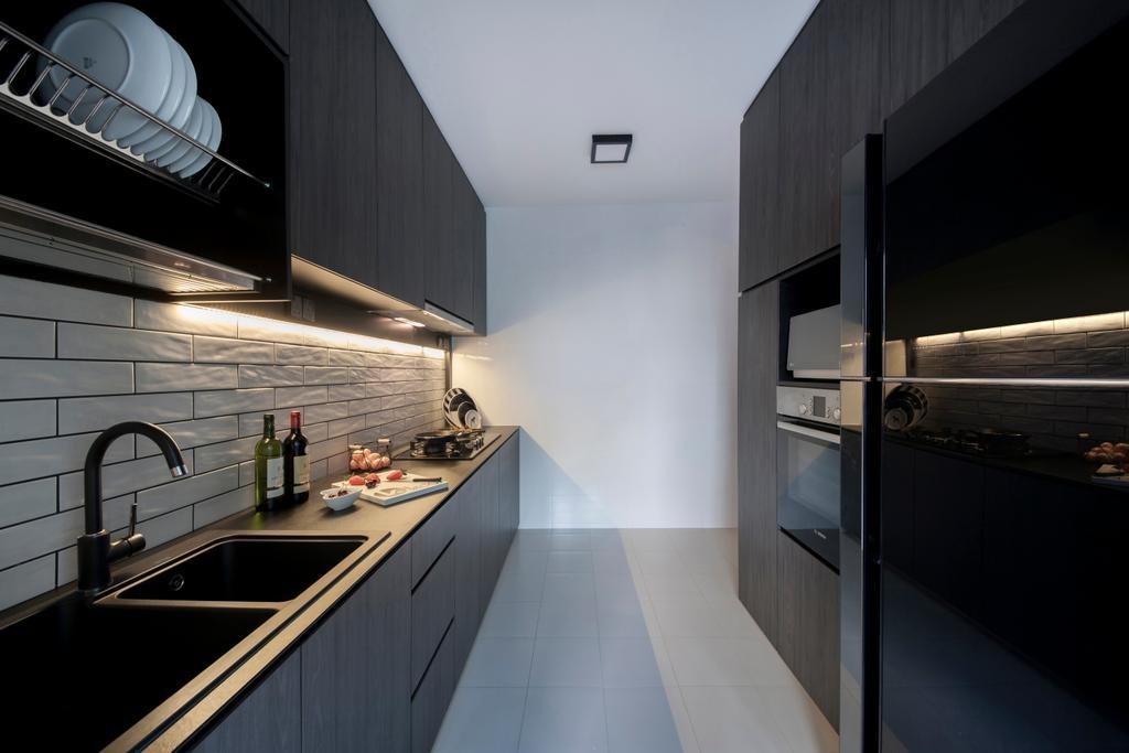 Contemporary, HDB, Kitchen, Rivervale Crescent (Block 162C), Interior Designer, KDOT