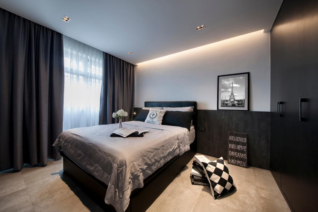 Rivervale Crescent (Block 162C), KDOT, Contemporary, Bedroom, HDB, King Size Bed, Wooden Floor, Wooden Wardrobe, Recessed Lights, Hidden Interior Lighting, Sling Curtain, Cozy, Cosy, Bed, Furniture, Projection Screen, Screen, Curtain, Home Decor, Indoors, Interior Design, Room