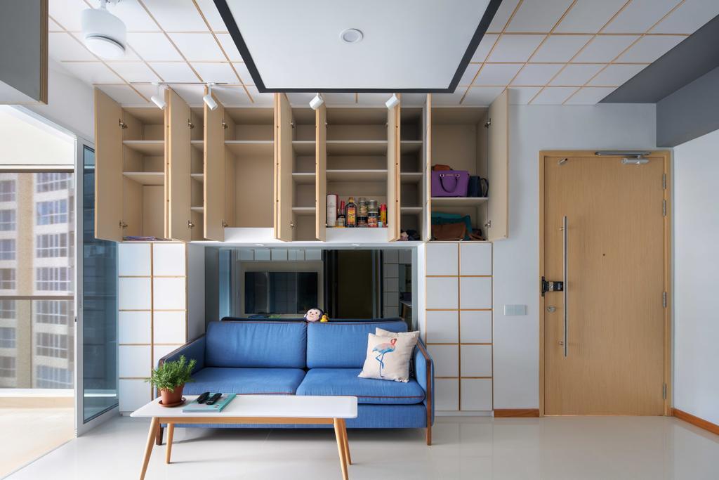 Minimalistic, Condo, Living Room, Trillant, Architect, asolidplan, Hidden Storage, Concealed Storage, Cubbyhole, Cabinet, Storage Above Sofa, Overhead Storage, Couch, Furniture, Indoors, Interior Design