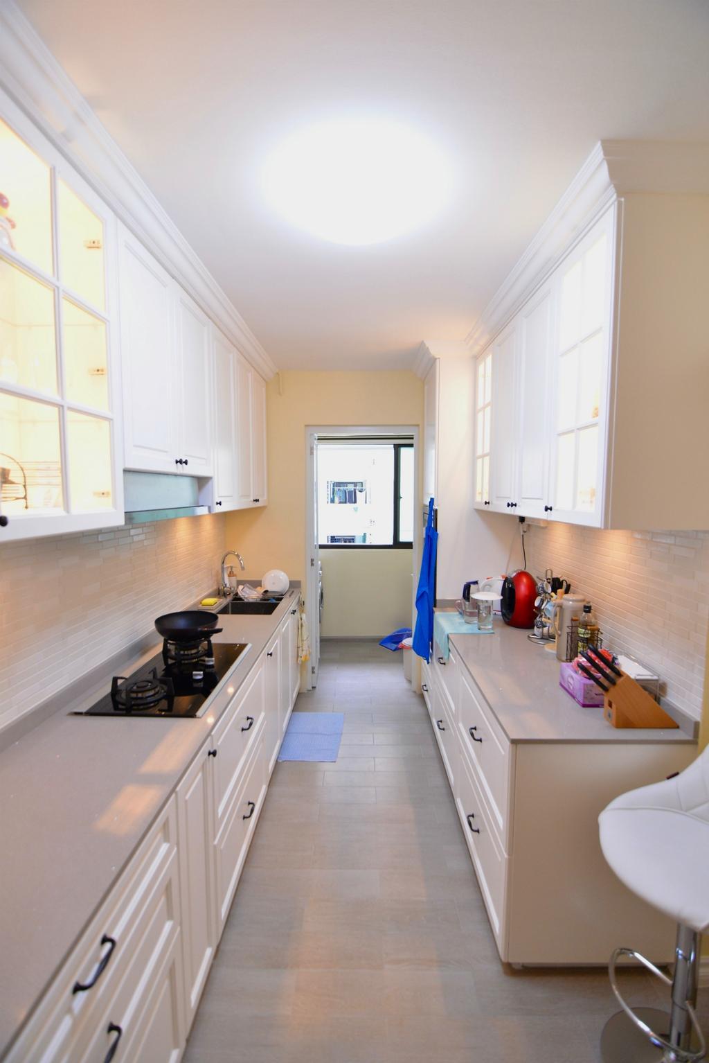 Traditional, HDB, Kitchen, Yishun Street 31 (Block 334C), Interior Designer, Van Hus Interior Design, Ceramic Tiles, Ceiling Light, White Kitchen Cabinet, White Kitchen Cupboard, White Laminated Top, Hidden Interior Lighting, Modern Contemporary Kitchen