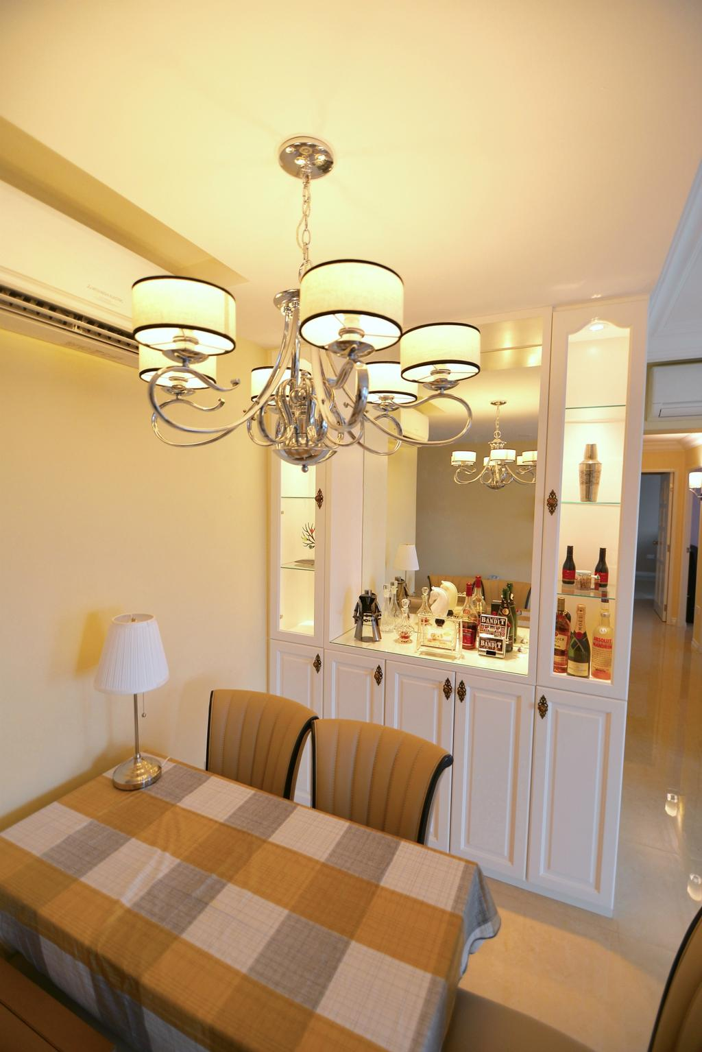 Traditional, HDB, Dining Room, Yishun Street 31 (Block 334C), Interior Designer, Van Hus Interior Design, Chandelier, Dining Table, Dining Chair, Modern Contemporary Dining Room