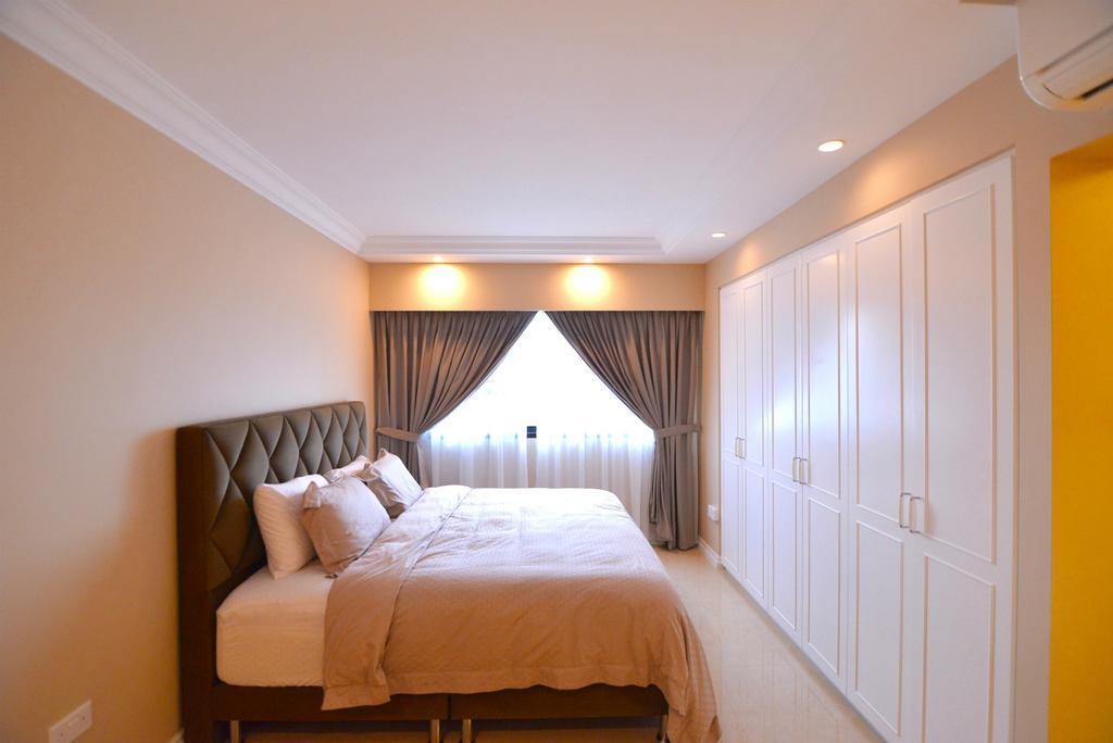 Traditional, HDB, Bedroom, Yishun Street 31 (Block 334C), Interior Designer, Van Hus Interior Design, King Size Bed, Recessed Lights, Hidden Interior Lighting, White Wardrobe, Sling Curtain, Modern Contemporary Bedroom, Cushioned Bedding Panel