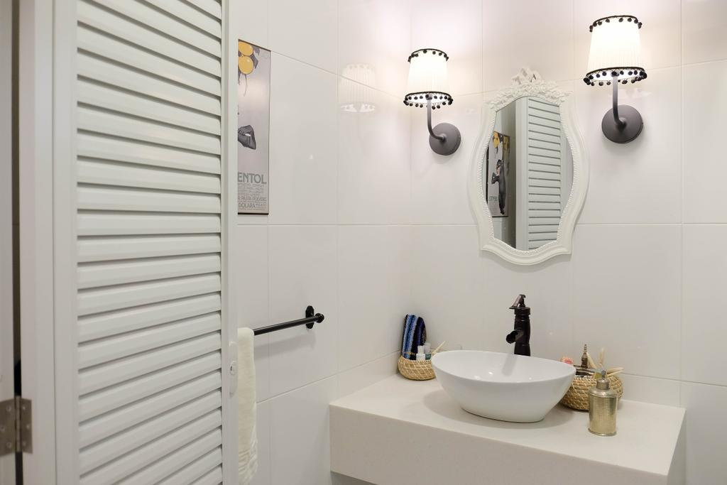 Eclectic, HDB, Bathroom, Compassvale Cresent (Block 293), Interior Designer, Fifth Avenue Interior, Vintage, Colonial, Old School, Shutter Door, Door With Grooves, Wall Sconce, White, All White, Minimalist, 50 S, Colonial Style, Country Living, Countryside, Faucet, Basin, Vanity Basin, Indoors, Interior Design, Room