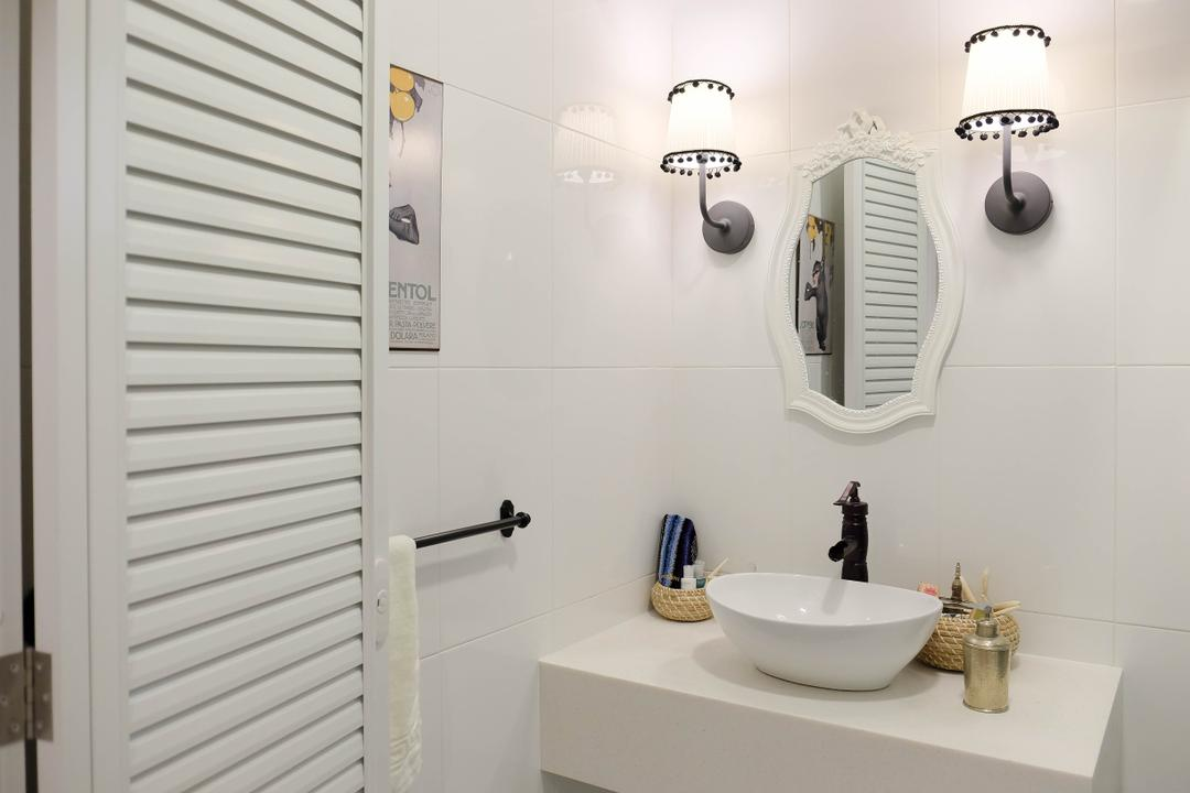 Compassvale Cresent (Block 293), Fifth Avenue Interior, Eclectic, Vintage, Bathroom, HDB, Colonial, Old School, Shutter Door, Door With Grooves, Wall Sconce, White, All White, Minimalist, 50 S, Colonial Style, Country Living, Countryside, Faucet, Basin, Vanity Basin, Indoors, Interior Design, Room