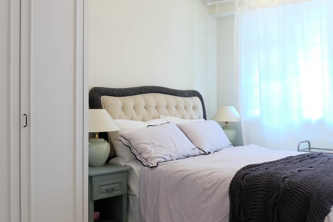 Compassvale Cresent (Block 293), Fifth Avenue Interior, Eclectic, Vintage, Bedroom, HDB, Wood Flooring, Light Wood, Headboard, L Shaped Wardrobe, Small Wardrobe