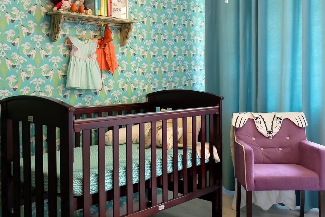 Compassvale Cresent (Block 293), Fifth Avenue Interior, Eclectic, Vintage, Bedroom, HDB, Kids Room, Babys Room, Babys Cot, Armchair, Wallpaper, Wall Shelf, Curtains, Nursery Room, Nursery, Crib, Furniture, Chair, Indoors, Room