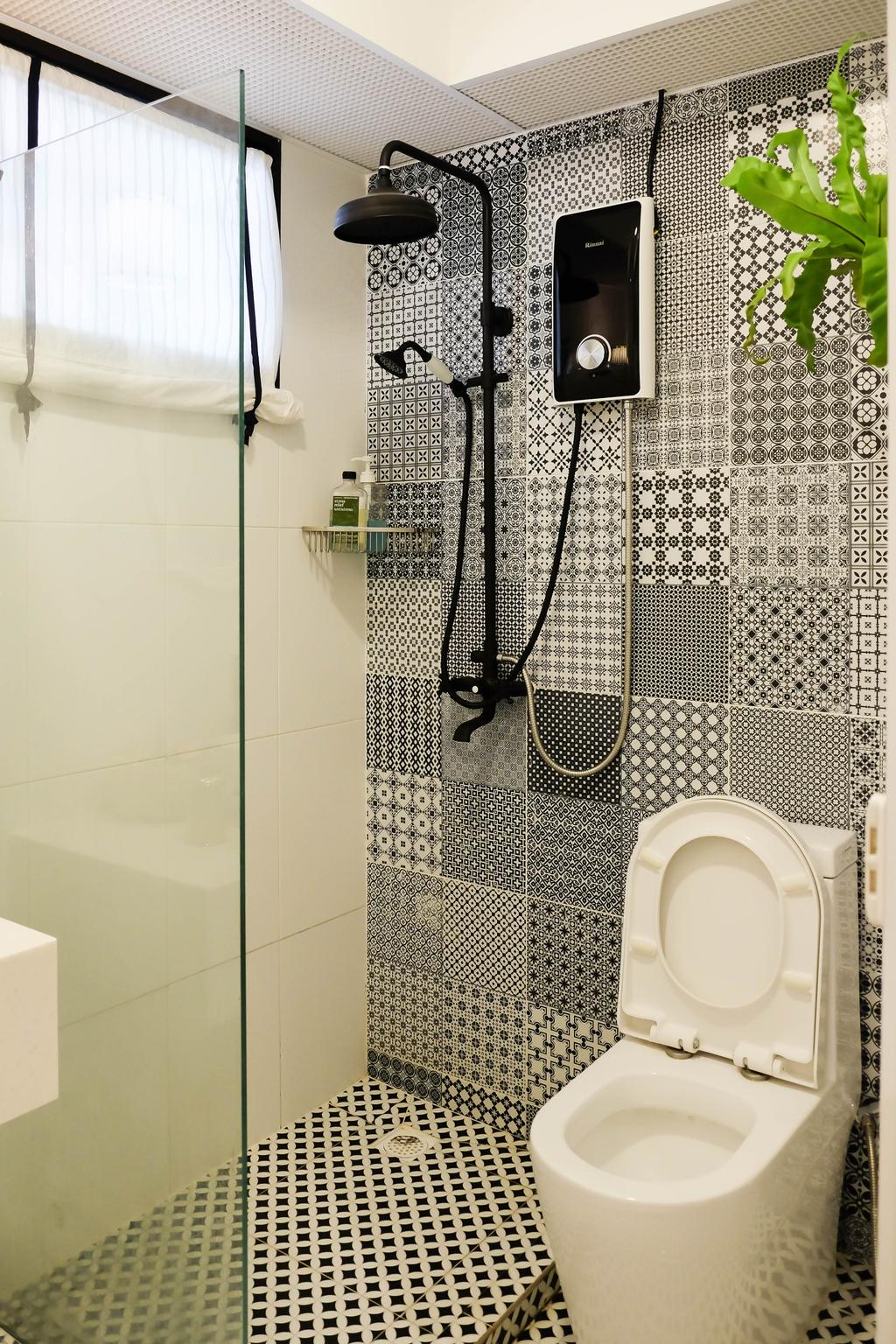 Eclectic, HDB, Bathroom, Compassvale Cresent (Block 293), Interior Designer, Fifth Avenue Interior, Vintage, Monochrome Tiles, Moasic Tiles, Black And White, Graphic Tiles, Patterned Tiles, Rainshower, Glass Partition