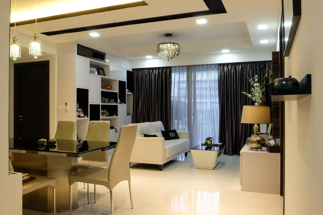 Heron Bay, Fifth Avenue Interior, Traditional, Living Room, Condo, Hallway, Living Space, White And Black, Monochrome, Black And White, Open Concept, Chair, Furniture, Dining Table, Table, Dining Room, Indoors, Interior Design, Room, Lamp, Table Lamp