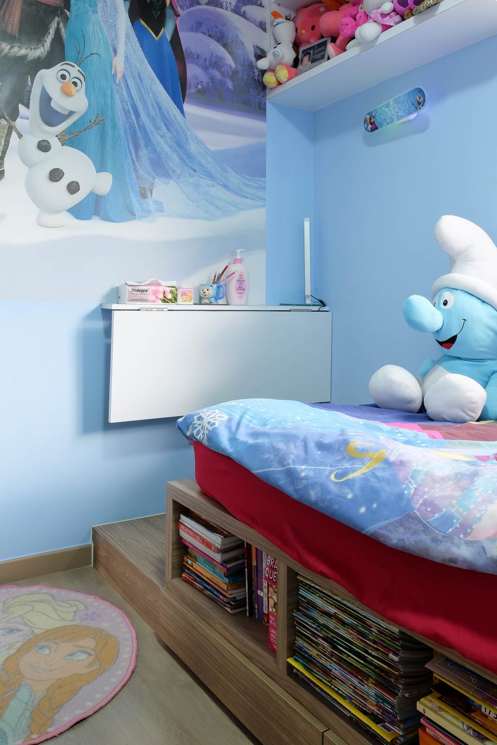 Traditional, Condo, Bedroom, Heron Bay, Interior Designer, Fifth Avenue Interior, Kids Room, Boys Room, Smurfs, Blue, Baby Boy, Babys Room, Storage, Platform, Bed, Furniture