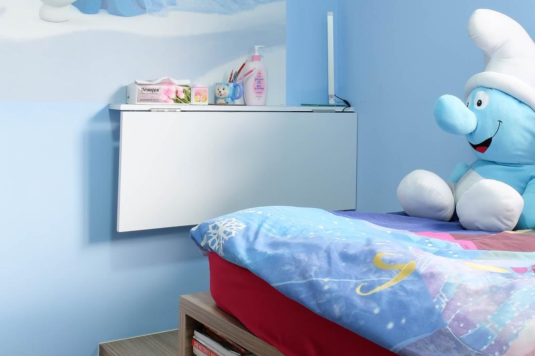 Heron Bay, Fifth Avenue Interior, Traditional, Bedroom, Condo, Kids Room, Boys Room, Smurfs, Blue, Baby Boy, Babys Room, Storage, Platform, Bed, Furniture