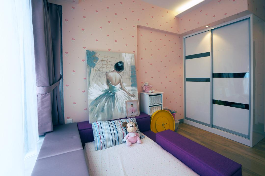 Silversea, Space Atelier, Modern, Bedroom, Condo, Hotel, Luxury, Wallpaper, Art, Purple, Yellow, Clock, Pink, Wall, Bay, Window, Children, Kids, Room, Bed, Padded