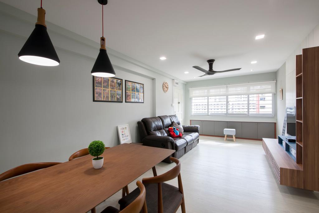 Traditional, HDB, Living Room, Jalan Bukit Merah (Block 134), Interior Designer, Yonder, Couch, Furniture, Dining Room, Indoors, Interior Design, Room, Lamp, Dining Table, Table, Plywood, Wood