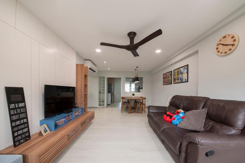 Traditional, HDB, Living Room, Jalan Bukit Merah (Block 134), Interior Designer, Yonder, Ceiling Fan, Recessed Lights, Wall Mounted Television, Wooden Television Console, Modern Contemporary Living Room, Brown Sofa, Spacious, Marble Floor, Couch, Furniture, Dining Table, Table