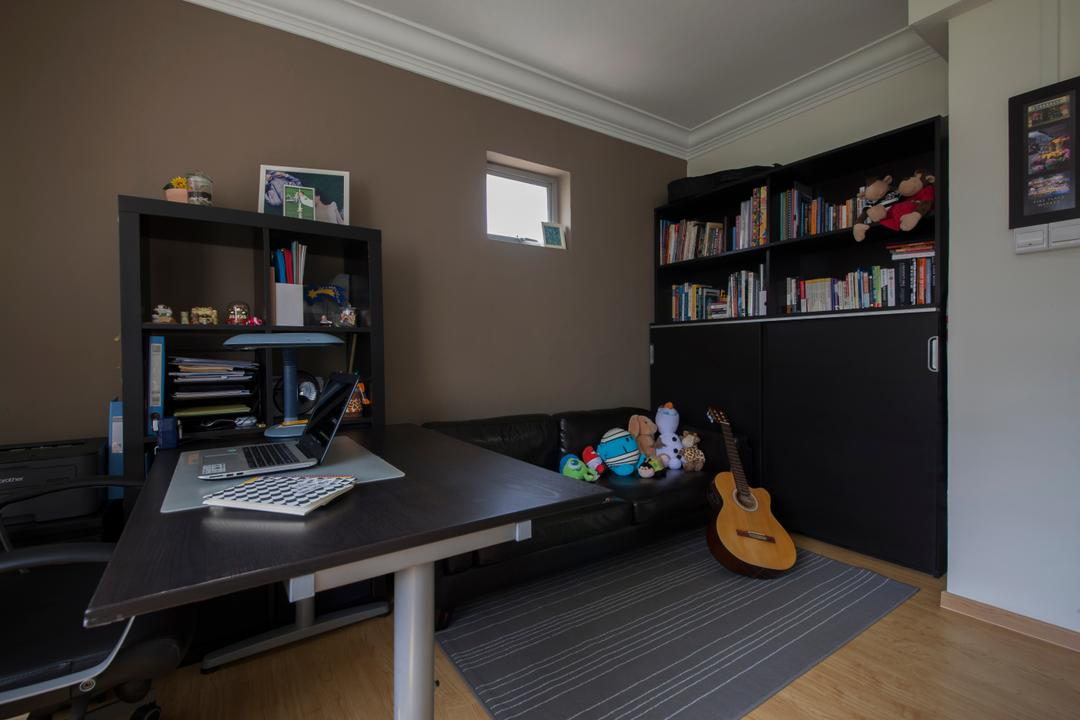 Jalan Bukit Merah (Block 134), Yonder, Traditional, Study, HDB, Wooden Floor, Rug, Wooden Study Desk, Wooden Shelve, Modern Contemporary Study Room, Bookcase, Furniture, Computer, Electronics, Laptop, Pc