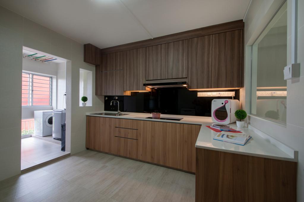 Traditional, HDB, Kitchen, Jalan Bukit Merah (Block 134), Interior Designer, Yonder, Indoors, Interior Design, Room, Appliance, Electrical Device, Microwave, Oven, Flooring, Molding