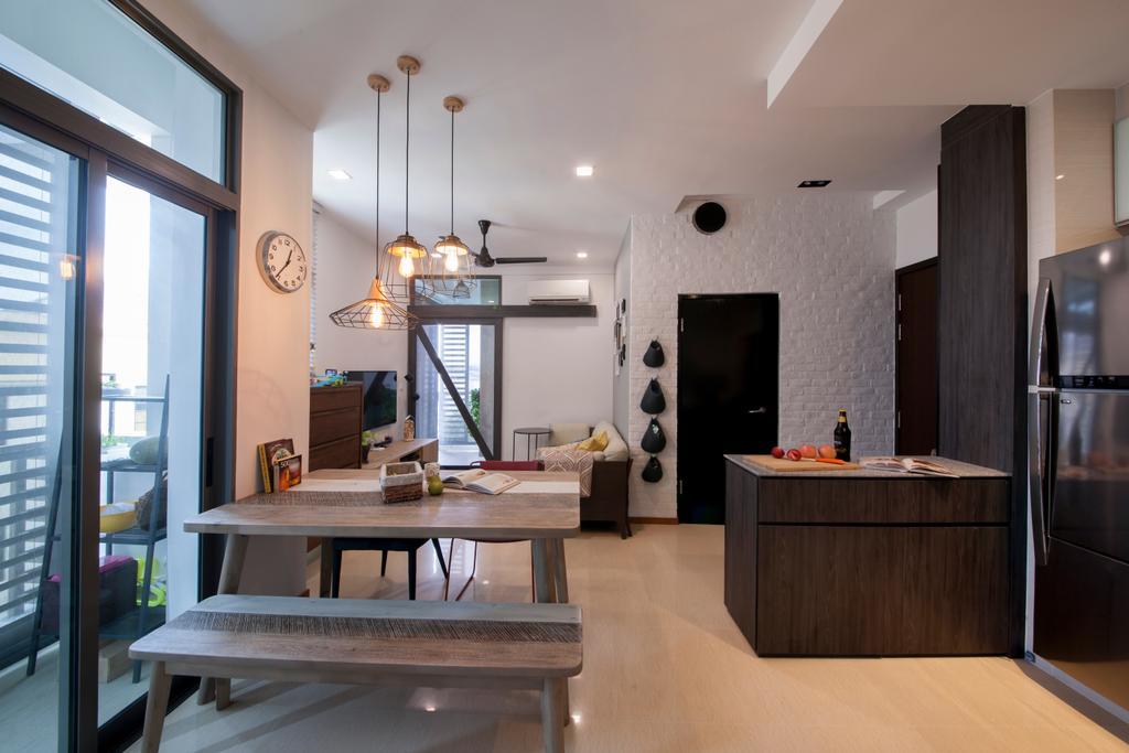 Traditional, Condo, Dining Room, Telok Kurau, Interior Designer, Prozfile Design, Industrial, Indoors, Interior Design, Flooring, Room