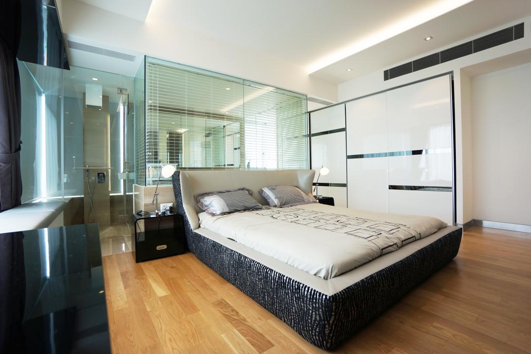 Silversea, Space Atelier, Modern, Bedroom, Condo, Hotel, Luxury, Room, Masterbed, Glass, Mirror, Open, Bathroom, Wardrobe, Bed, Furniture, Indoors, Interior Design