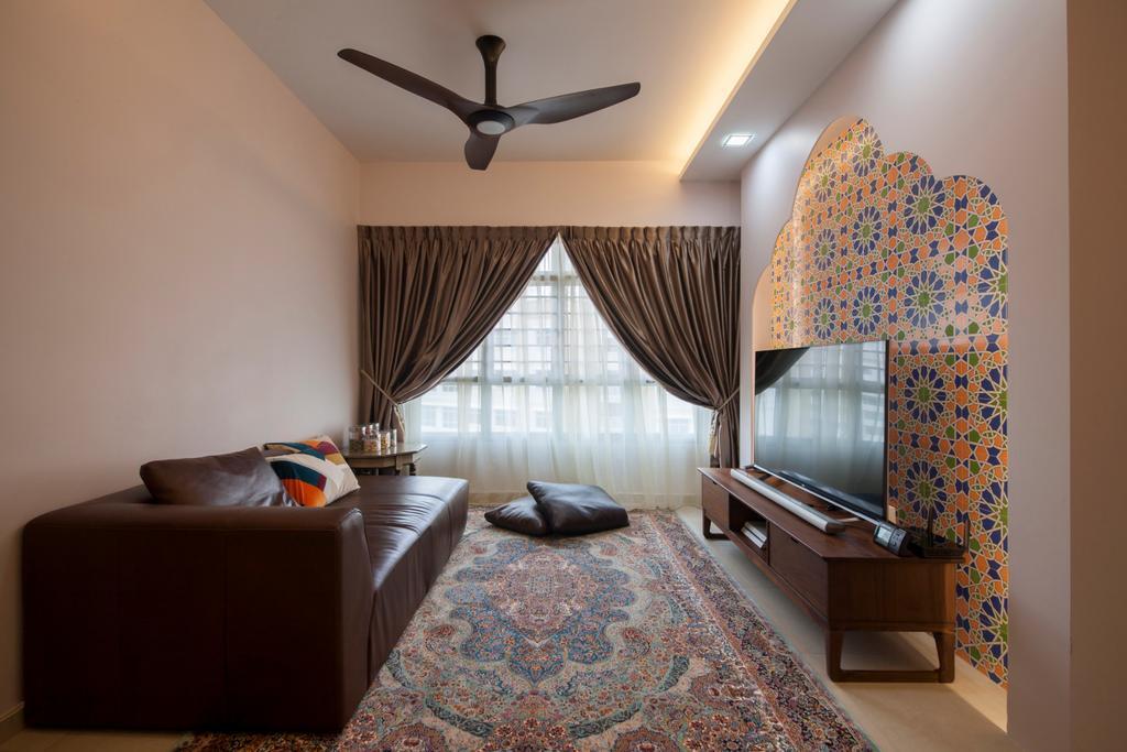 Traditional, HDB, Living Room, Fajar Road (Block 443A), Interior Designer, Fatema Design Studio, Couch, Furniture, Bedroom, Indoors, Interior Design, Room, Propeller