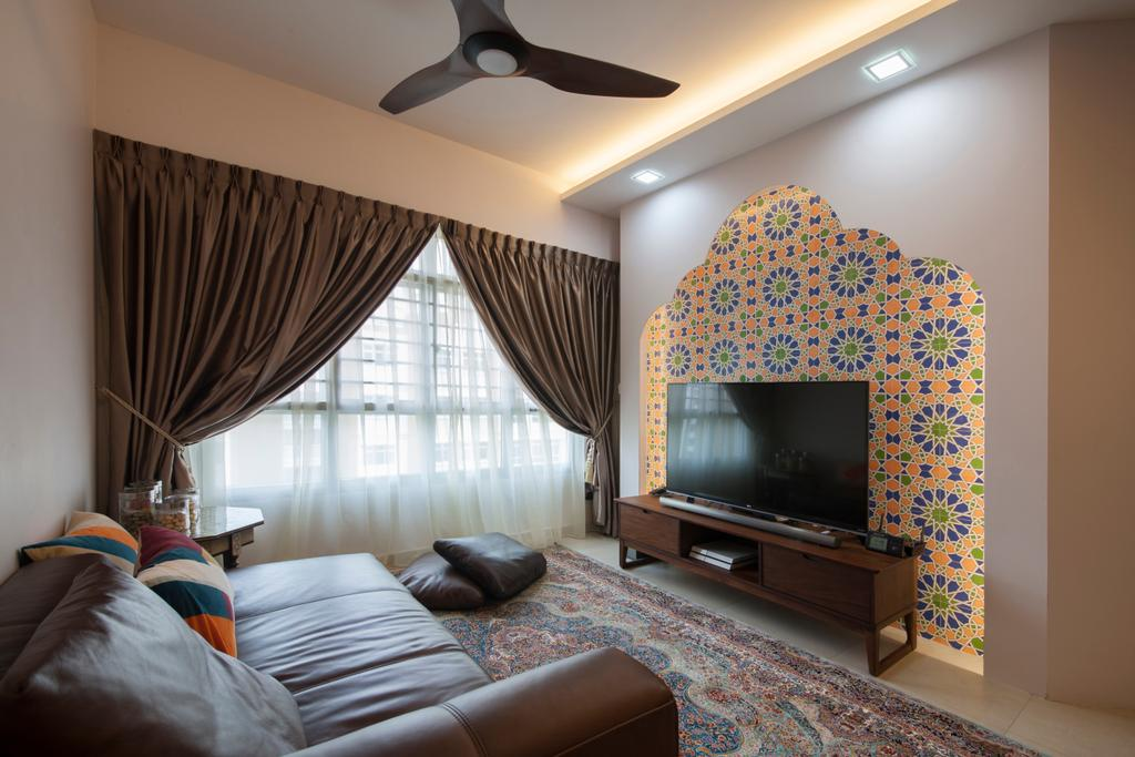Traditional, HDB, Living Room, Fajar Road (Block 443A), Interior Designer, Fatema Design Studio, Light Fixture, Indoors, Interior Design
