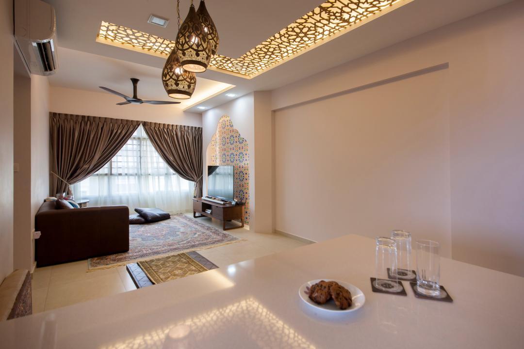 Fajar Road (Block 443A), Fatema Design Studio, Traditional, Dining Room, HDB, Indoors, Interior Design, Couch, Furniture, Blender, Mixer