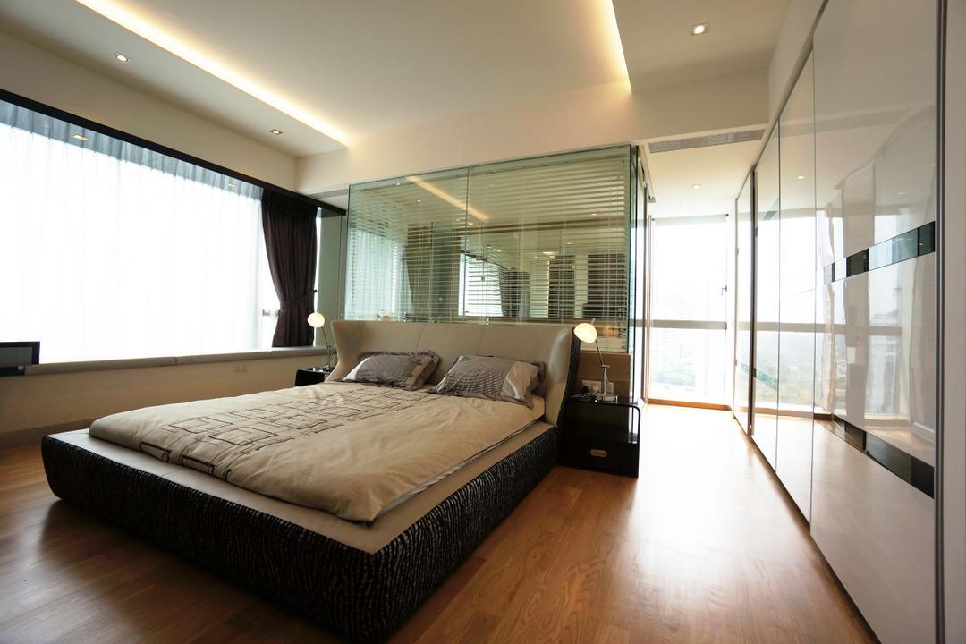 Silversea, Space Atelier, Modern, Bedroom, Condo, Hotel, Luxury, Room, Masterbed, Glass, Mirror, Open, Bathroom, Bed, Furniture, Lighting, Indoors, Interior Design