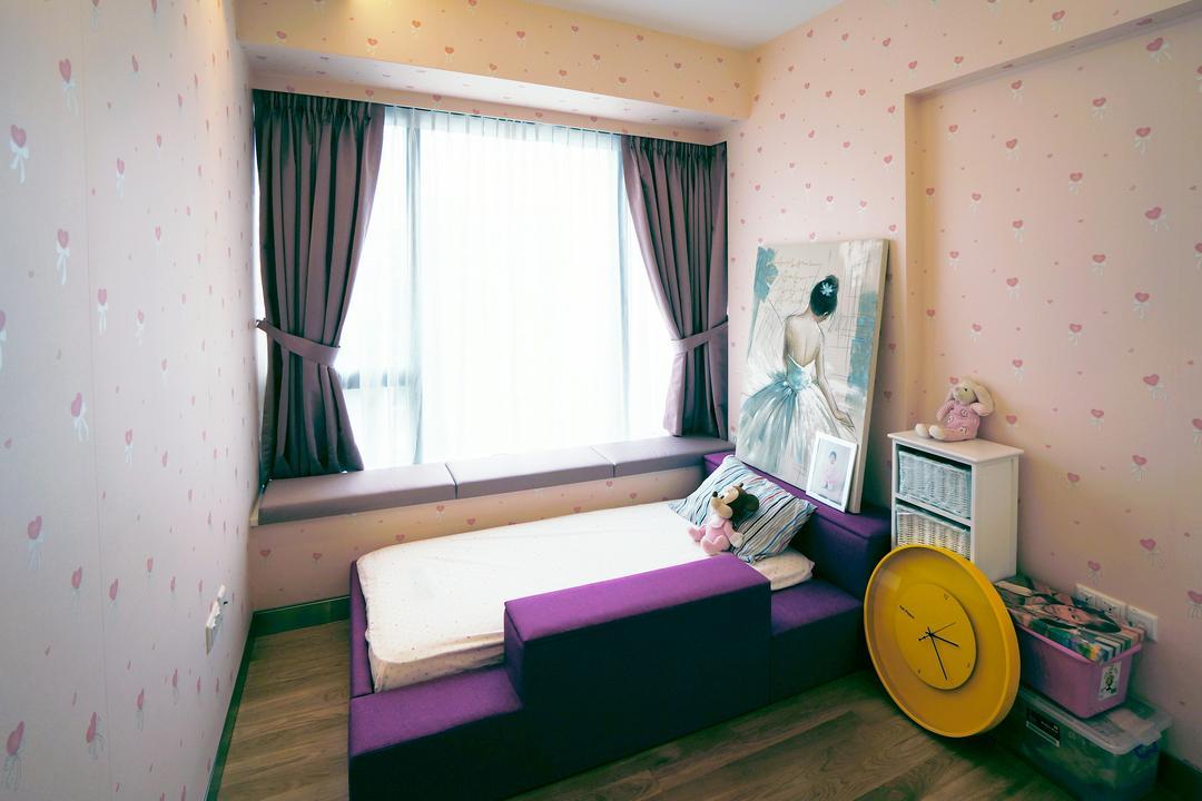Silversea, Space Atelier, Modern, Bedroom, Condo, Hotel, Luxury, Wallpaper, Art, Purple, Yellow, Clock, Pink, Wall, Bay, Window, Children, Kids, Room, HDB, Building, Housing, Indoors