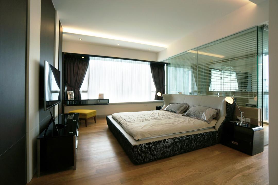 Silversea, Space Atelier, Modern, Bedroom, Condo, Hotel, Luxury, Room, Masterbed, Glass, Mirror, Open, Bathroom, Baywindow, Bay, Windows, Couch, Furniture, Bed, Indoors, Interior Design