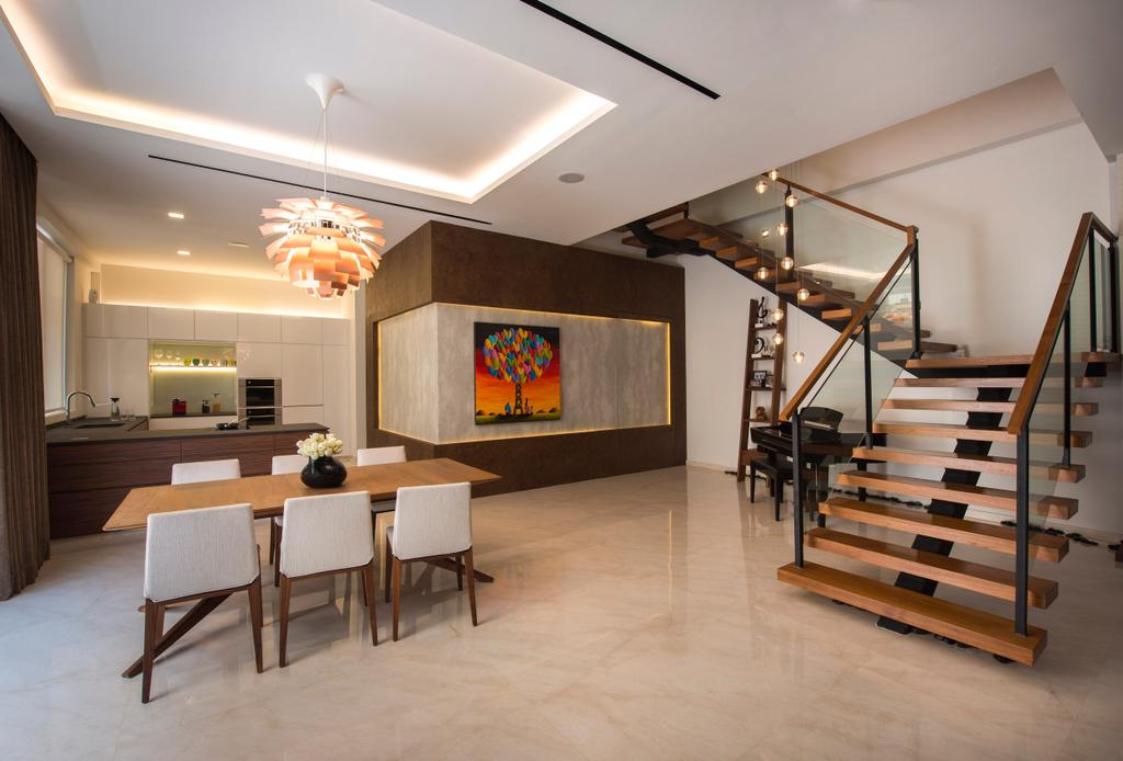 Contemporary, Landed, Dining Room, Chiselhurst Grove, Interior Designer, Space Vision Design, Banister, Handrail, Staircase, Dining Table, Furniture, Table, Indoors, Interior Design, Room