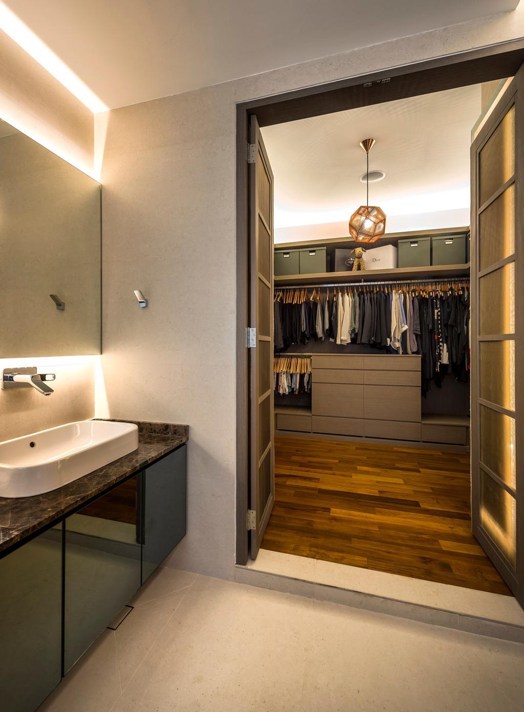 Contemporary, Landed, Bathroom, Chiselhurst Grove, Interior Designer, Space Vision Design, Lamp, Indoors, Interior Design, Light Fixture, Sink