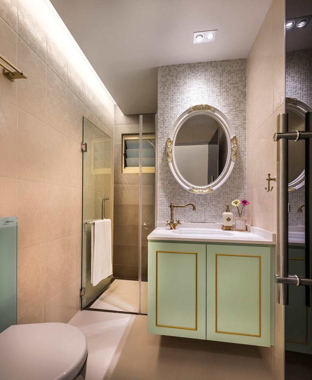 Vintage, Condo, Bathroom, Hilltop Grove, Interior Designer, Space Vision Design, Transitional, White Board, Indoors, Interior Design, Room