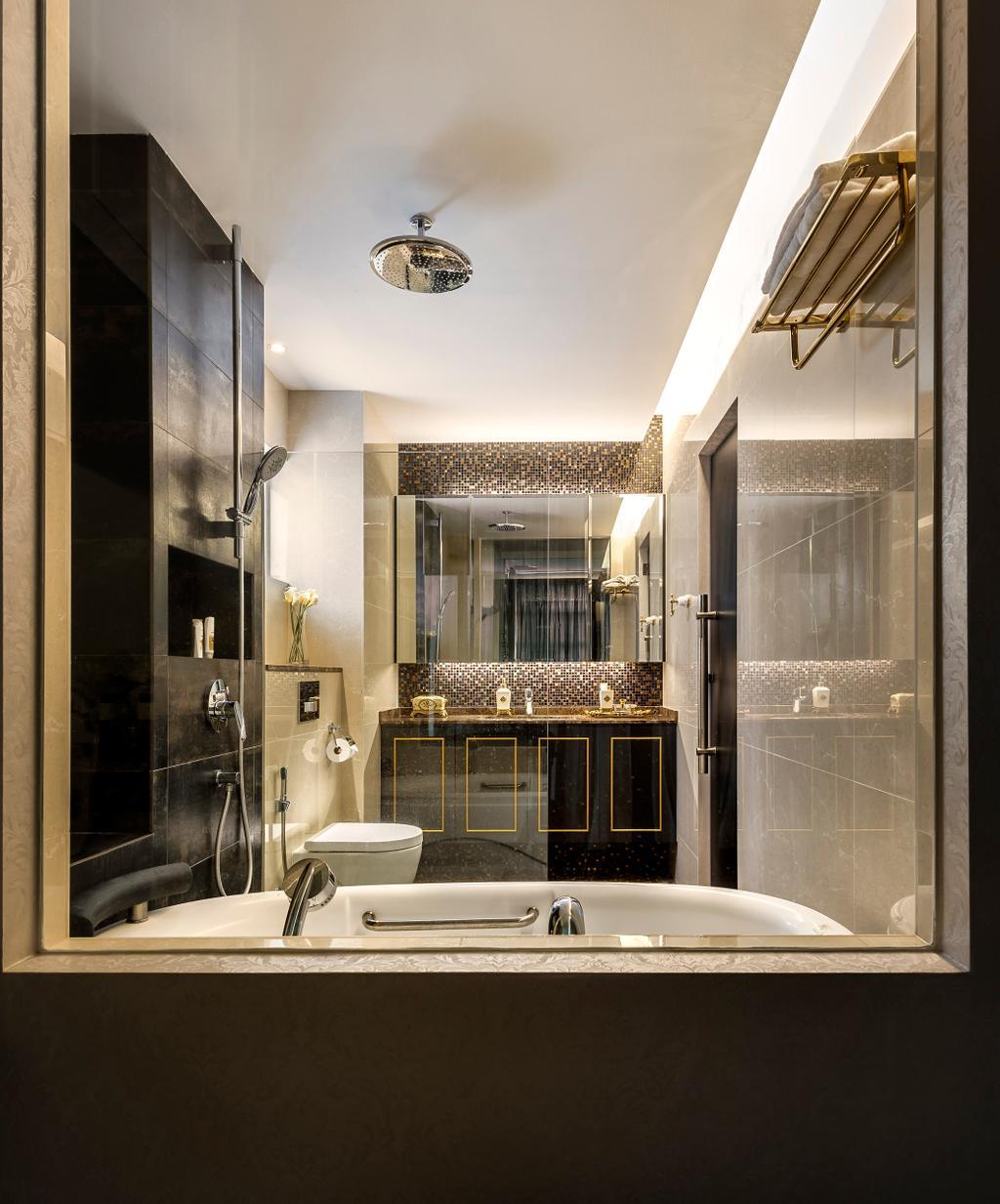 Vintage, Condo, Bathroom, Hilltop Grove, Interior Designer, Space Vision Design, Transitional, Indoors, Interior Design, Room