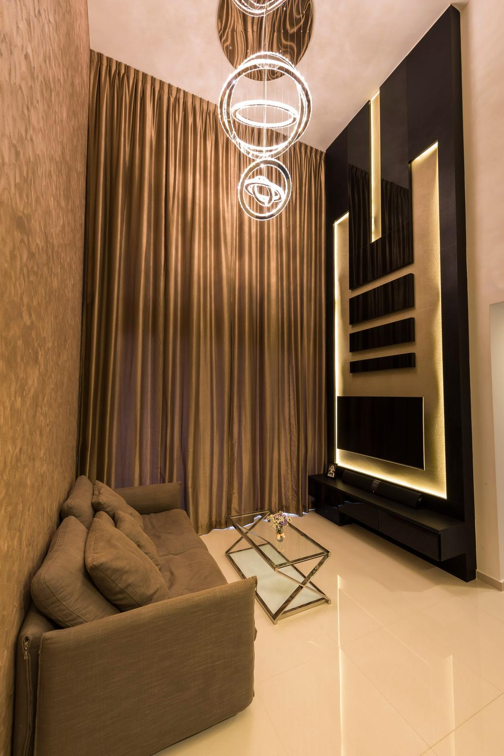 Contemporary, Condo, Living Room, Miltonia Residences, Interior Designer, Space Vision Design, Giant Sling Curtain, Hanging Lights, Wall Mounted Television, Floating Television Console, Black Panel, Glass Table, Modern Contemporary Living Room