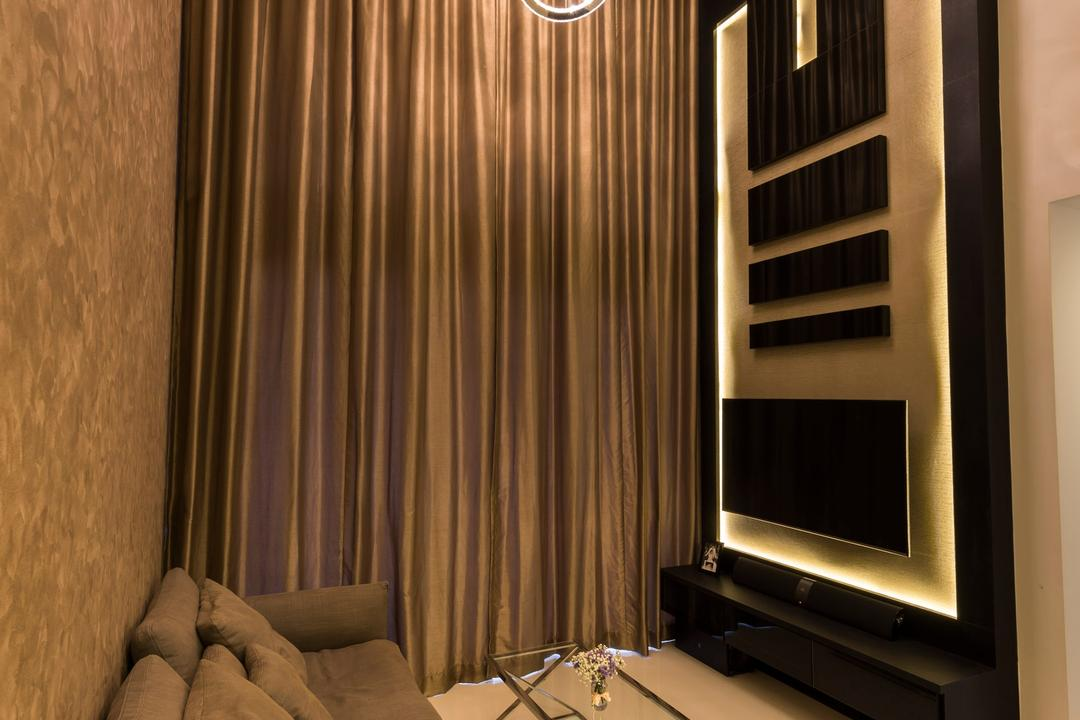 Miltonia Residences, Space Vision Design, Contemporary, Living Room, Condo, Giant Sling Curtain, Hanging Lights, Wall Mounted Television, Floating Television Console, Black Panel, Glass Table, Modern Contemporary Living Room
