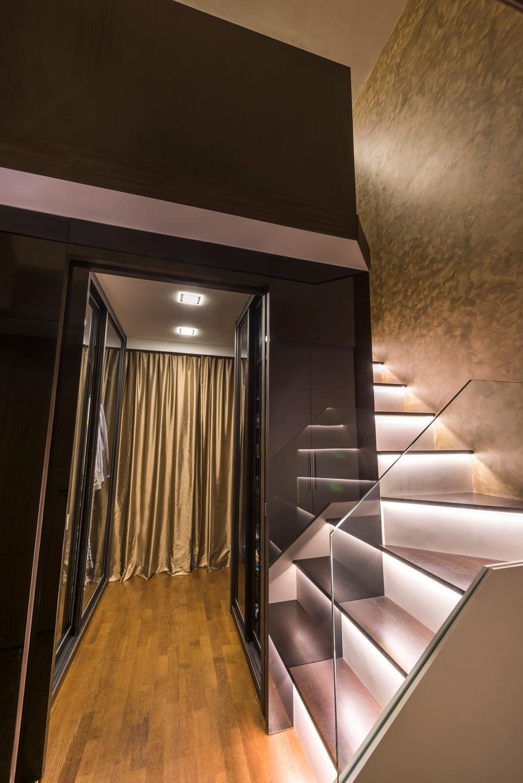 Contemporary, Condo, Living Room, Miltonia Residences, Interior Designer, Space Vision Design, Stairway, Staircase, Stairs, Hidden Interior Lighting, Wooden Floor, Curtain, Home Decor