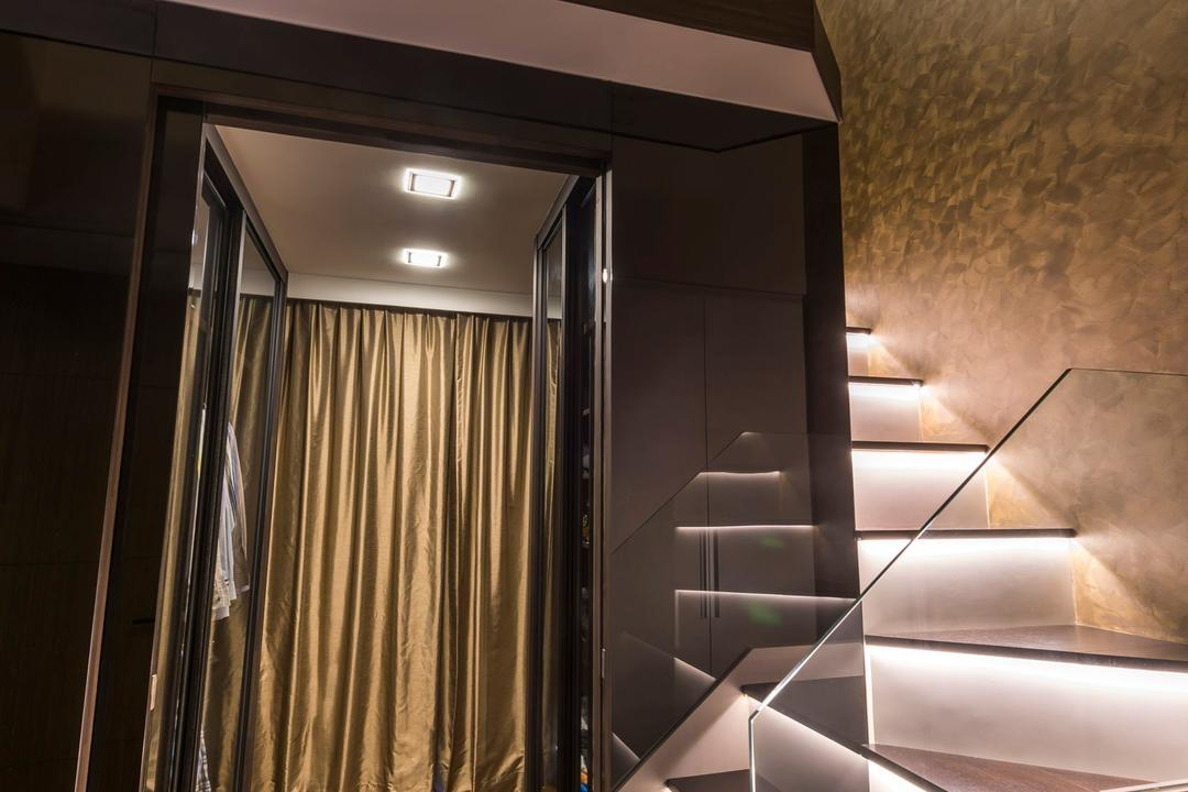 Miltonia Residences, Space Vision Design, Contemporary, Living Room, Condo, Stairway, Staircase, Stairs, Hidden Interior Lighting, Wooden Floor, Curtain, Home Decor
