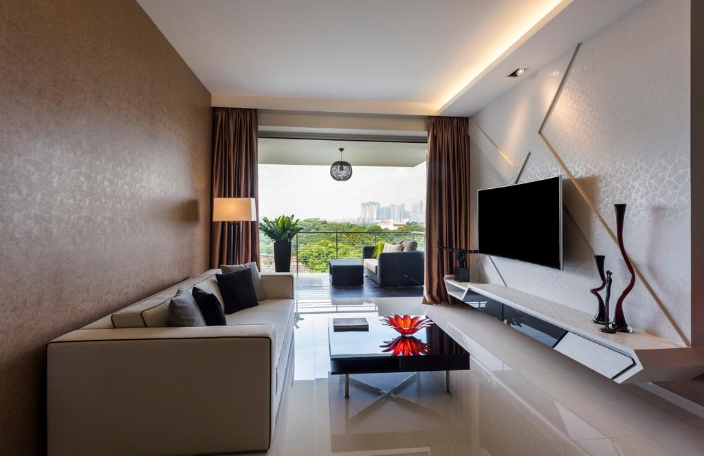 Modern, Condo, Living Room, Riveredge, Interior Designer, Space Vision Design, Modern Contemporary Living Room, Wall Mounted Television, Floating Television Console, Hidden Interior Lighting, Sling Curtain, Black Glass Table, Balcony, Brown Wall, White Wall, Sink, Indoors, Interior Design