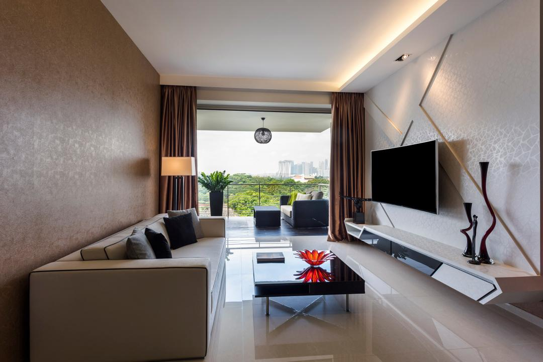 Riveredge, Space Vision Design, Modern, Living Room, Condo, Modern Contemporary Living Room, Wall Mounted Television, Floating Television Console, Hidden Interior Lighting, Sling Curtain, Black Glass Table, Balcony, Brown Wall, White Wall, Sink, Indoors, Interior Design