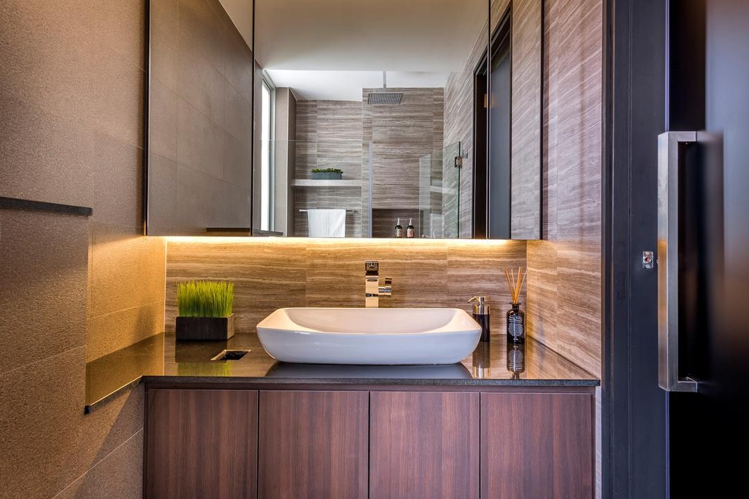 Riveredge, Space Vision Design, Modern, Bathroom, Condo, Modern Contemporary Bathroom, Hidden Interior Lighting, Ceramic Floor, Wooden Bathroom Cupboard, Wooden Bathroom Cabinet, Protruding Sink, Sink, Indoors, Interior Design, Room, Toilet, Bathtub, Tub