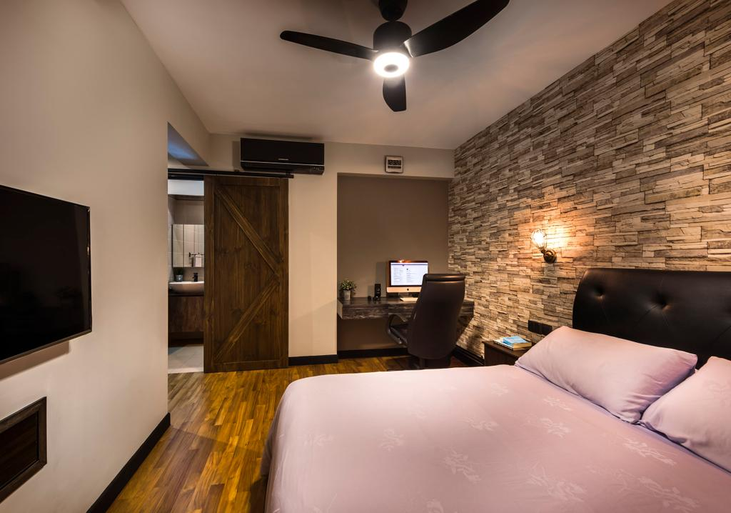 Industrial, HDB, Bedroom, Upper Serangoon View, Interior Designer, Space Vision Design, Scandinavian, King Size Bed, Wooden Floor, Brick Wall, Ceiling Fan, Modern Contemporary Bedroom, Cozy, Cosy, Wall Mounted Light, Wall Mounted Television