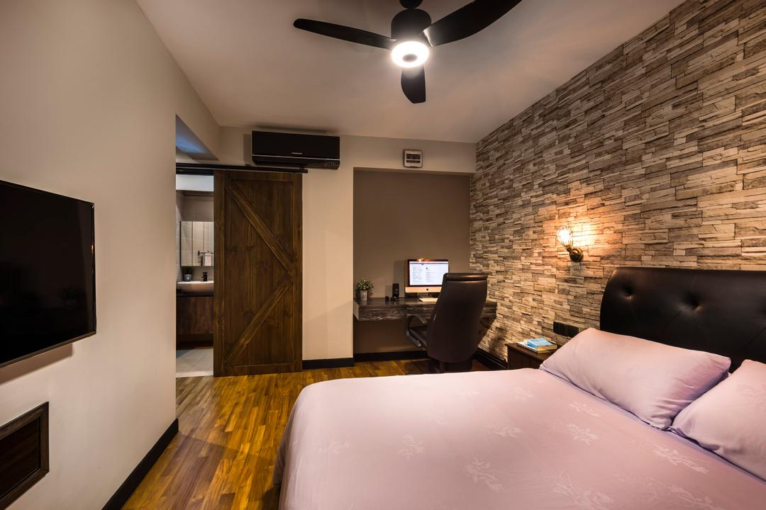 Upper Serangoon View, Space Vision Design, Industrial, Scandinavian, Bedroom, HDB, King Size Bed, Wooden Floor, Brick Wall, Ceiling Fan, Modern Contemporary Bedroom, Cozy, Cosy, Wall Mounted Light, Wall Mounted Television