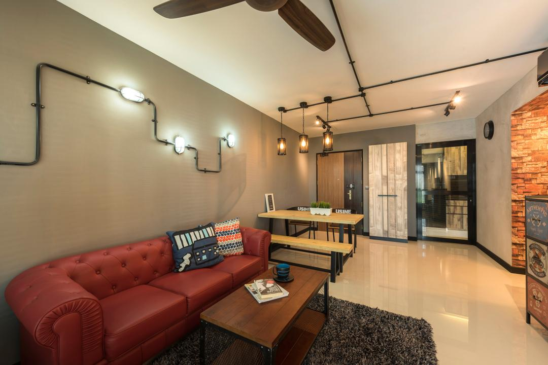 Upper Serangoon View, Space Vision Design, Industrial, Scandinavian, Living Room, HDB, Hanging Lights, Furry Rug, Dark Red Sofa, Ceiling Fan, Track Lights, Wooden Table, Ceramic Tiles, Modern Contemporary Living Room, Brick Walls, Couch, Furniture